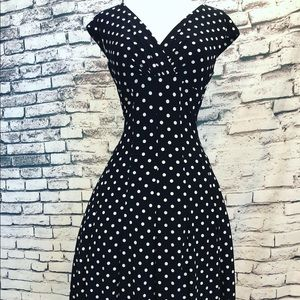 Ralph Lauren Black White Polka Dot Fit Flare Pinup